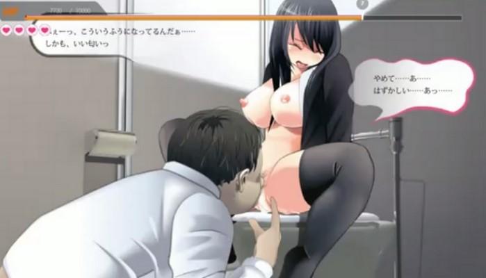 女子校生がトイレでオナニーをしているとオヤジが乱入しやられてしまうエロゲーのプレイ動画